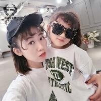 女童打底衫2017夏装新款童装韩版儿童亲子字母宽松短袖t恤上衣潮
