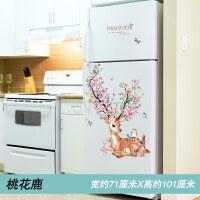 冰箱贴纸3d立体卡通厨房翻新装饰品墙贴画创意壁纸墙纸自粘可移除 16 桃花鹿 特大