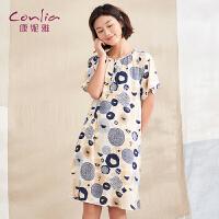 【专柜同款】康妮雅家居服女士夏季印花甜美可爱短袖居家宽松睡裙