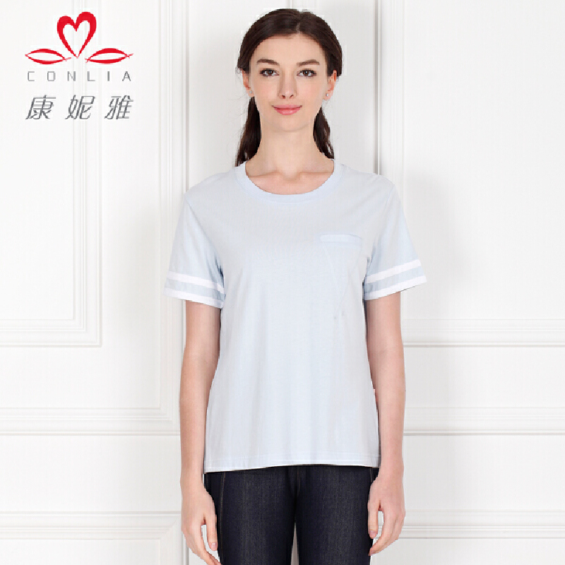 康妮雅夏季新款女士T恤 短袖休闲纯色棉质修身打底衫先领卷后购物 满399减50
