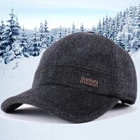 男士帽子冬天中老年毛呢棒球帽休闲保暖护耳鸭舌帽男太阳帽