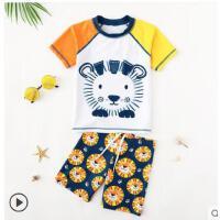 防晒泳裤套装泳衣男童可爱卡通 分体长袖中大童宝宝游泳衣