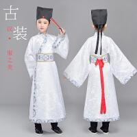 古装汉服男童国学演出服小学生女童舞蹈服长袖表演服装书童送帽子