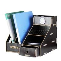 创意木质收纳架文件架资料架桌面整理架 带表抽屉式收纳盒