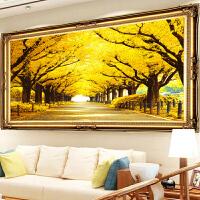 黄金满地十字绣线绣 印花十字绣黄金满地全景十字绣线绣新款客厅2米大幅图风景发财树