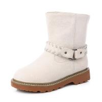 冬季新款绒面加绒保暖纯色中筒雪地靴女加厚防滑经典棉靴