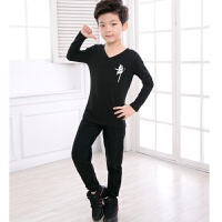 儿童舞蹈练功服男女孩子长袖形体服幼男童拉丁套装棉秋 黑色 长袖+长裤