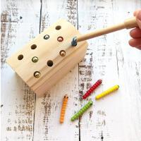 新品 抓虫游戏配对儿童益智早教木制玩具 幼儿园早教玩具