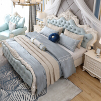欧式床法式床1.8米镂空雕花公主双人婚床简欧主卧室实木家具套装 1500mm*2000mm 箱框结构