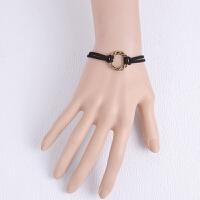 复古手工编织时尚双层手链 简约手饰珍珠吊坠镂空花朵百搭 黑色 均码