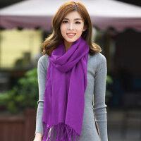 韩国女士保暖紫色围巾长款薄款空调披肩两用纯羊毛围巾