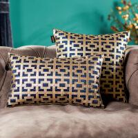 奇居良品 欧式现代沙发床头抱枕套方枕套腰枕套 梅乐迪蓝色靠垫套