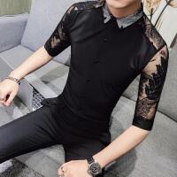 短袖衬衫男士五分袖韩版潮流修身休闲发型师夜店蕾丝镂空中袖衬衣