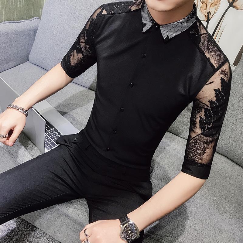 短袖衬衫男士五分袖韩版潮流修身休闲发型师夜店蕾丝镂空中袖衬衣 发货周期:一般在付款后2-90天左右发货,具体发货时间请以与客服协商的时间为准