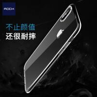 包邮支持礼品卡 ROCK iphoneX 纤薄 TPU 保护壳 透明 防摔 创意 硅胶 苹果 全包边套 隐形套