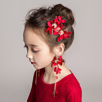 女童红色演出头饰儿童礼服头箍配饰花童婚纱花朵头花发卡发箍饰品