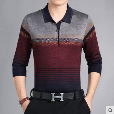 中年长袖t恤男户外新品网红同款翻领撞色渐变爸爸装40-50岁中老年条纹针织衫薄 品质保证 售后无忧
