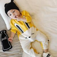 春秋新款休闲爬爬服1-4-7个月婴儿小兔子衣服新生儿宝宝连体衣
