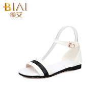 彼艾2016年夏季新款低跟女鞋简约时尚平底鞋一字带韩版搭扣凉鞋女鞋