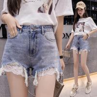 牛仔短裤女装夏季2018新款韩版新款大码拼接毛边牛仔短裤女薄热裤