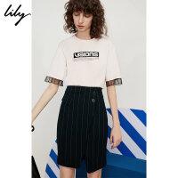 【预估到手价:89】Lily春夏新款女装含棉蕾丝拼接宽松直筒短袖T恤118220A8314