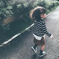 亲子装儿童黑白色条纹长袖毛衣宝宝圆领套头针织衫母女装