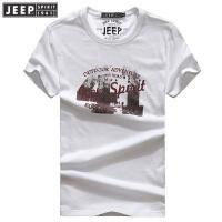 JEEP吉普短袖T恤男2018男装夏季薄款透气纯棉半袖t恤男式圆领休闲字母打底衫