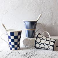 情人节七夕生日礼物创意情侣水杯陶瓷骨瓷马克杯办公室咖啡杯 蓝雅