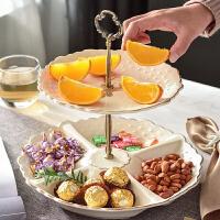 家用水果盘干果盘欧式分格双层点心架陶瓷果盘客厅茶几装饰摆件