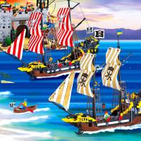 启蒙军事拼装积木加勒比海盗船儿童益智冒险号玩具男孩子礼物�犯�