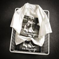 清新印花短袖T恤男矮小个子XS码S小码圆领半袖衫休闲体恤