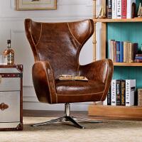 奇居良品 美式皮家具手工改色pu皮 汉可单人休闲沙发书椅转椅