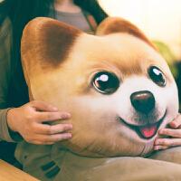3D仿真创意毛绒玩具狗狗公仔礼物哈士奇柯基抱枕狗头靠枕