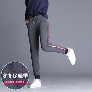 加绒加厚条纹显瘦系带运动长裤 松紧腰哈伦裤女