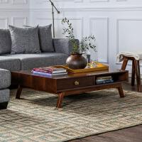 奇居良品 北欧风情板木家具思科纳胡桃木色客厅茶几/咖啡桌