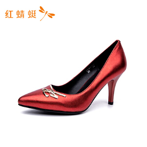 红蜻蜓女优雅淑女磨砂细高跟时尚单鞋女