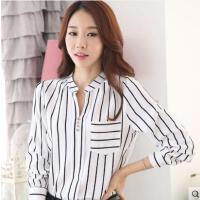 长袖雪纺衫女士竖条纹黑白V领户外新品网红同款新款韩范职业通勤打底衬衣