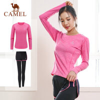 camel骆驼瑜伽服 运动T恤健身长裤女款秋季跑步速干套装