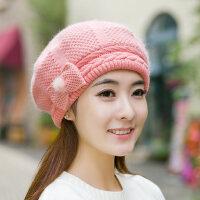 贝雷帽保暖针织毛线帽百搭韩版帽子女兔毛混纺帽女