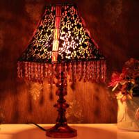 红兔子 古典串珠 欧式台灯 床头灯 青铜花方锥罩 AJH75