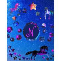 【预订】Starry Unicorns Notebook Monogram Series N: College Rule