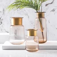 奇居良品 现代简约家居装饰摆件 罗伯托灰色带铜环玻璃摆瓶/花瓶
