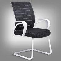 家用电脑椅办公椅老板椅 时尚转椅游戏电竞椅人体工学座椅子 白+黑工字型 钢制脚