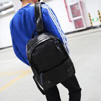 男士双肩包时尚休闲书包潮男旅行包学生背包韩版个性格子拼接男包zl 黑色