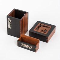 红木笔筒套装 黑创意实用檀木质文化公司商务礼品定制印logo刻字