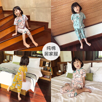 夏季新款2018男女童全棉韩版卡通睡衣两件套宝宝家居服套装