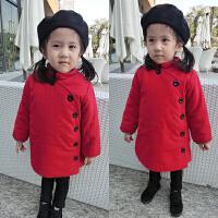 冬装女童复古唐装民族风新年装小童宝宝加棉红色外套棉衣厚