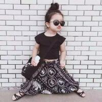 韩国童装女童夏装套装露脐半截短袖t恤女大童吊档垮哈伦裤两件套