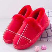 PU皮居家棉拖鞋女冬季毛拖鞋防水厚底男士情侣棉拖鞋包跟月子鞋