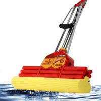 拖把 家居清洁加粗不锈钢管加强吸水胶棉海绵拖布拉杆把手有效防滑三排滚轮轻松挤水免手洗居家日